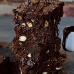 Rich, fudgy better-for-you brownies made with coconut flour and oil, cacao powder and honey