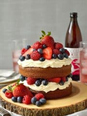 Berry cider cake with mascarpone cream icing - light, slightly spiced cider cake with berries & a thick layer of vanilla mascarpone cream