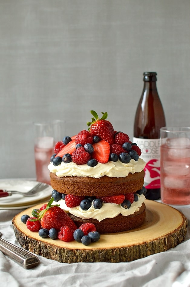 Lightly spiced mixed berry cider cake with vanilla mascarpone cream frosting