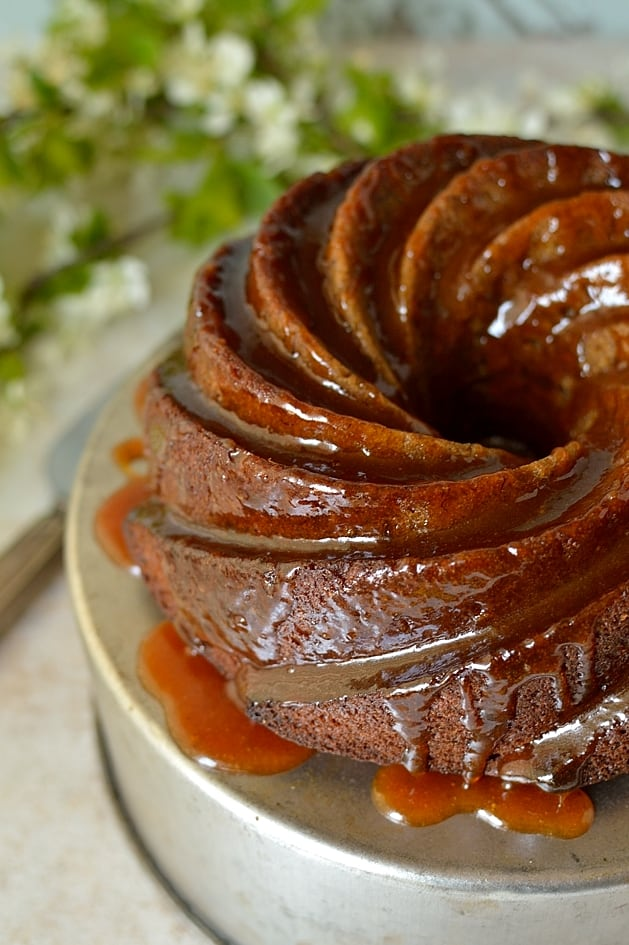 Spiced banana bundt cake with banana rum caramel sauce