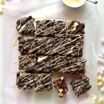 White chocolate drizzled popcorn rocky road bars