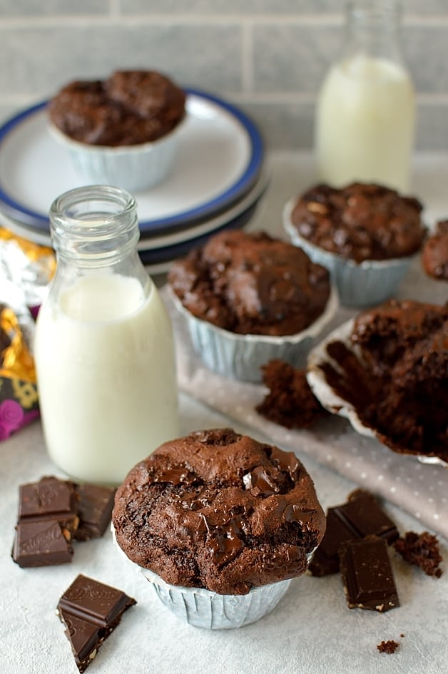 Big double chocolate almond raisin muffins