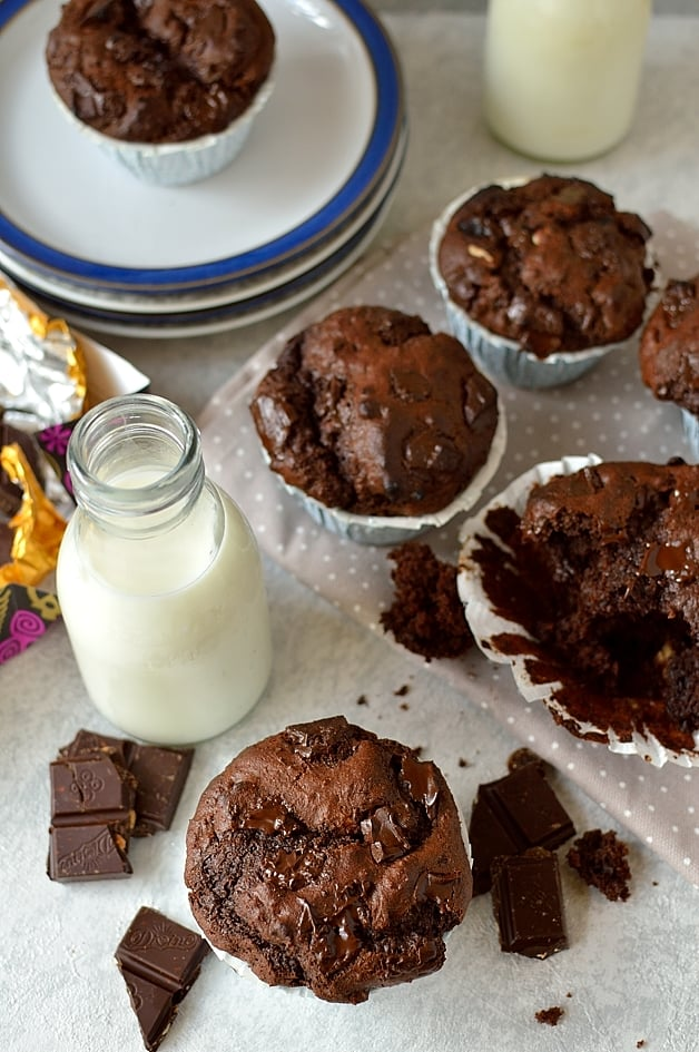 Giant double chocolate almond raisin muffins
