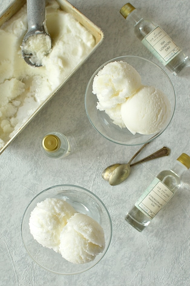 Gin and bitter lemon sorbet - light, refreshing and a little bit boozy