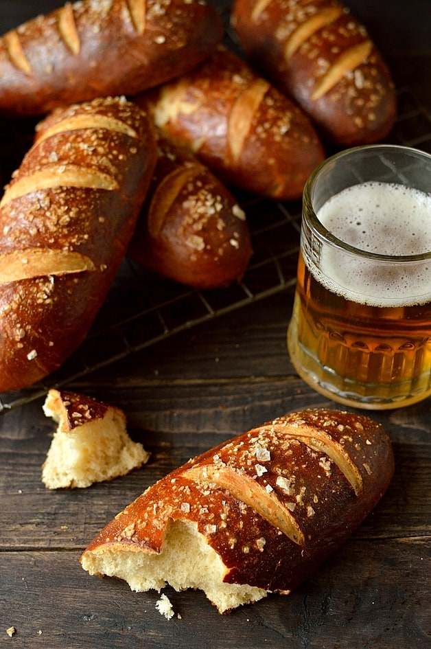 Pretzel hot dog buns - soft, chewy and delicious!