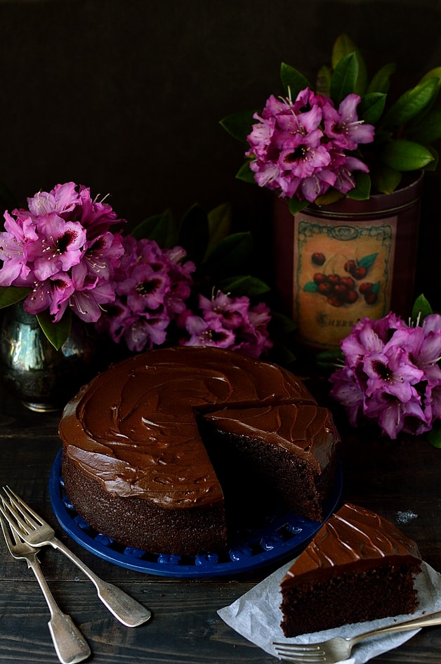 Moist chocolate stout cake with stout ganache
