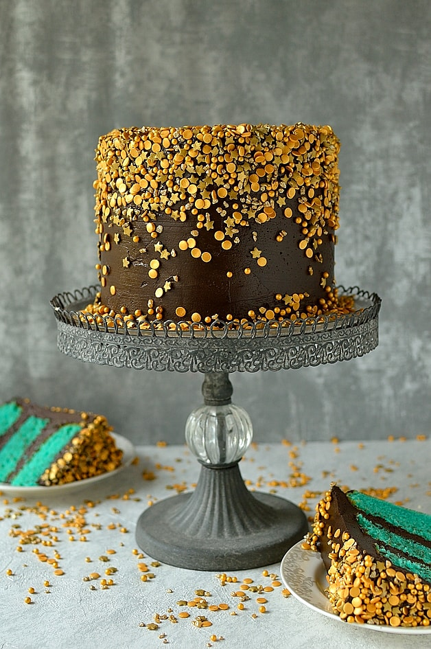Chocolate & Vanilla Gold Sprinkles Cake - Domestic Gothess