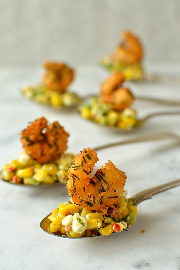 Crispy coconut king prawn and sweetcorn, avocado and feta salsa appetizer spoons