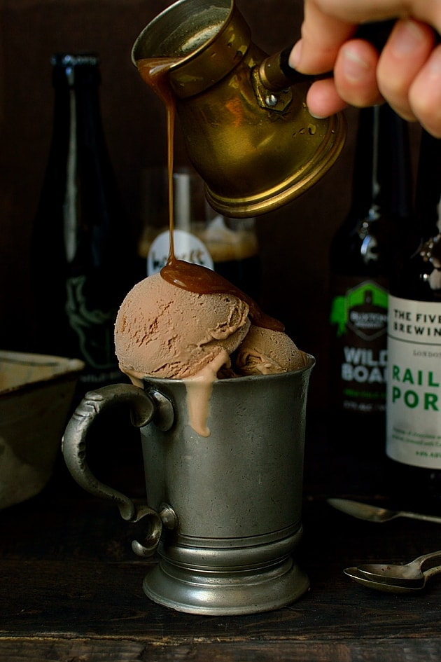 Milk chocolate porter beer (or stout) ice cream with porter caramel sauce
