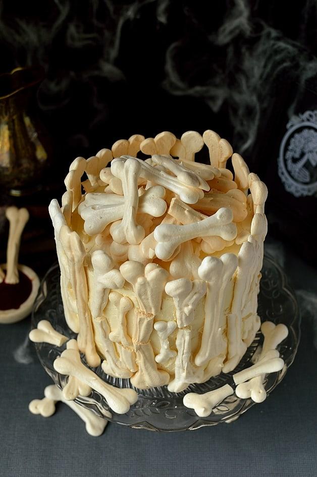 Meringue bone garden graveyard Halloween cake
