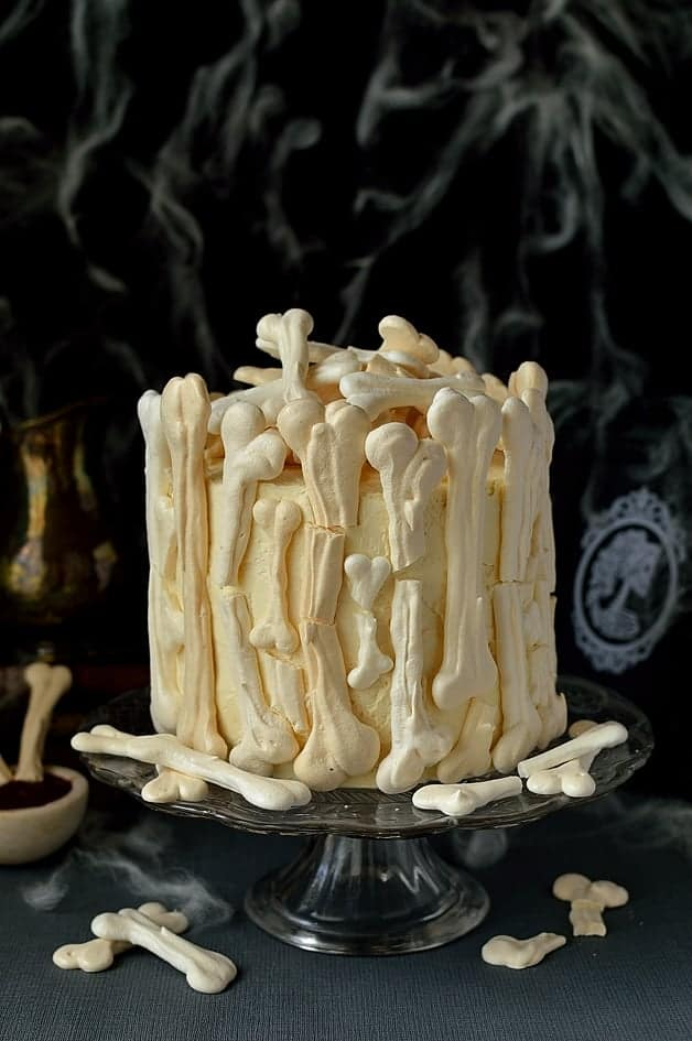 meringue bone palace halloween cake moist chocolate cake filled with vanilla swiss meringue buttercream and