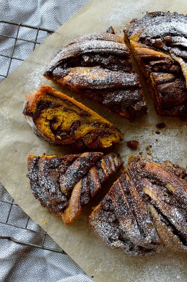 Chocolate and ginger filled spiced pumpkin bread couronne