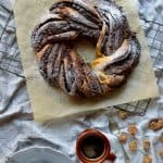 Chocolate and crystallised ginger swirled yeasted pumpkin spice bread wreath
