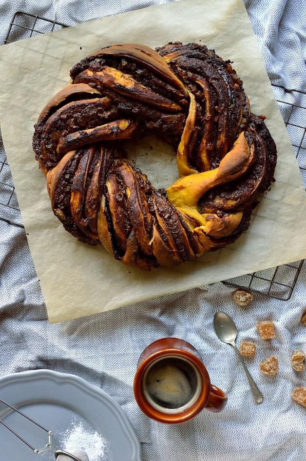 Chocolate and ginger swirled pumpkin spice bread wreath