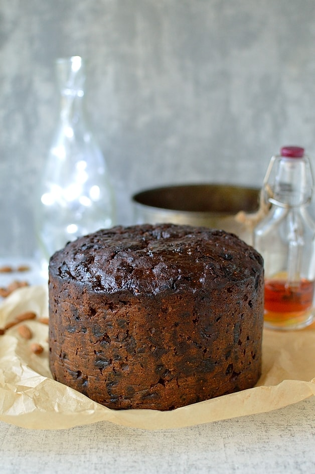 Rich fruitcake filled with rum soaked fruit