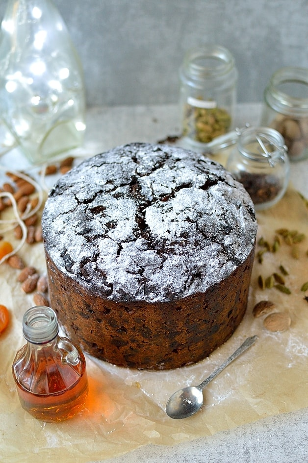 Make and mature rich Christmas celebration fruitcake filled with alcohol soaked fruit