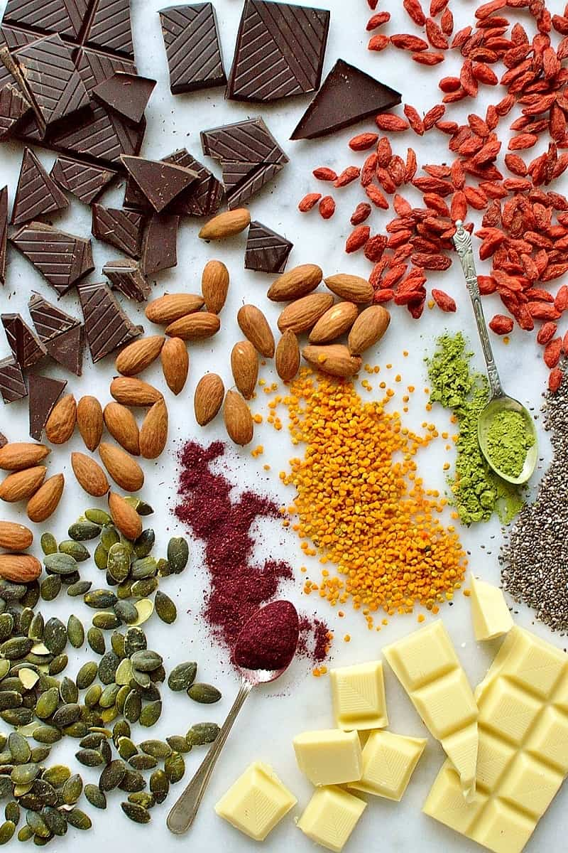 Superfood chocolate bark ingredients