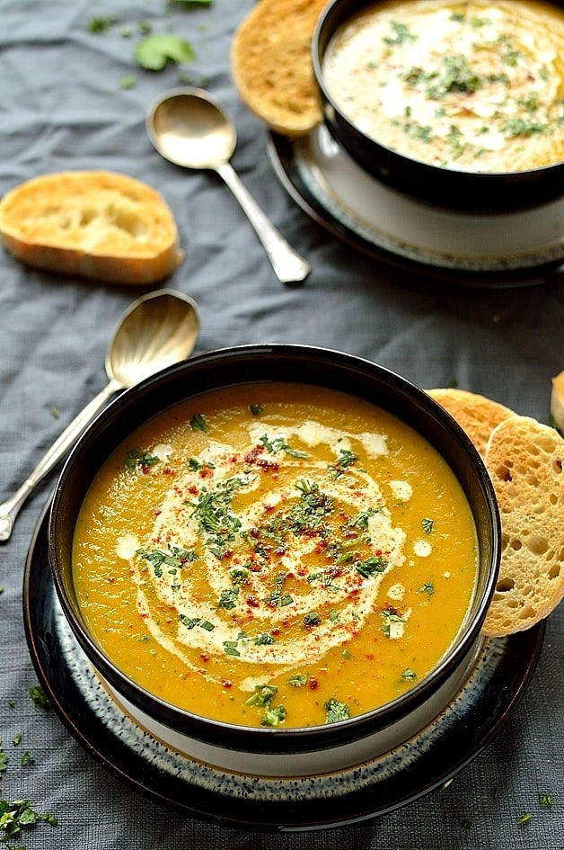 Carrot and coriander soup - healthy, filling, quick and easy to make and utterly delicious!