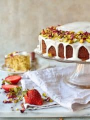 Persian love cake - a romantic, fragrant cake flavoured with lemon, rosewater, cardamom, almond and pistachio, perfect for Valentine's Day!