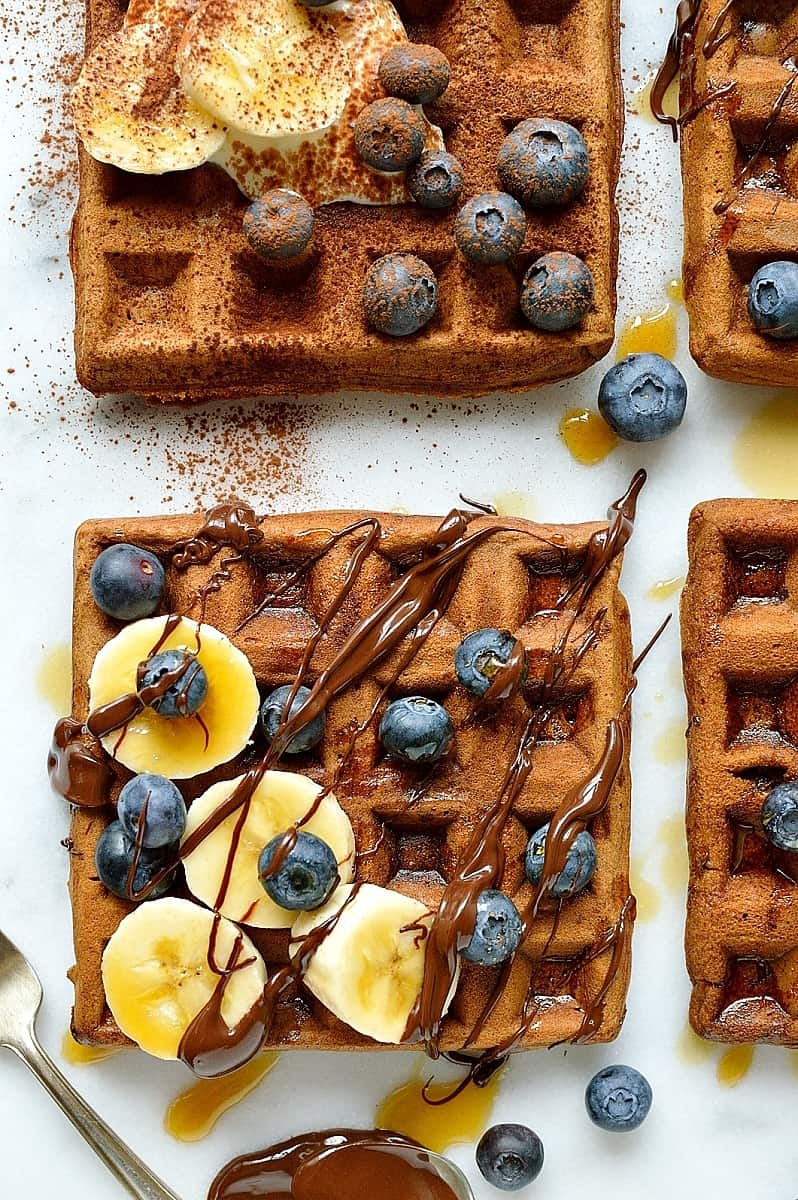 Healthier chocolate banana waffles - banana and chocolate flavoured waffles made with spelt and buckwheat flour with yoghurt for extra protein, healthy and delicious!