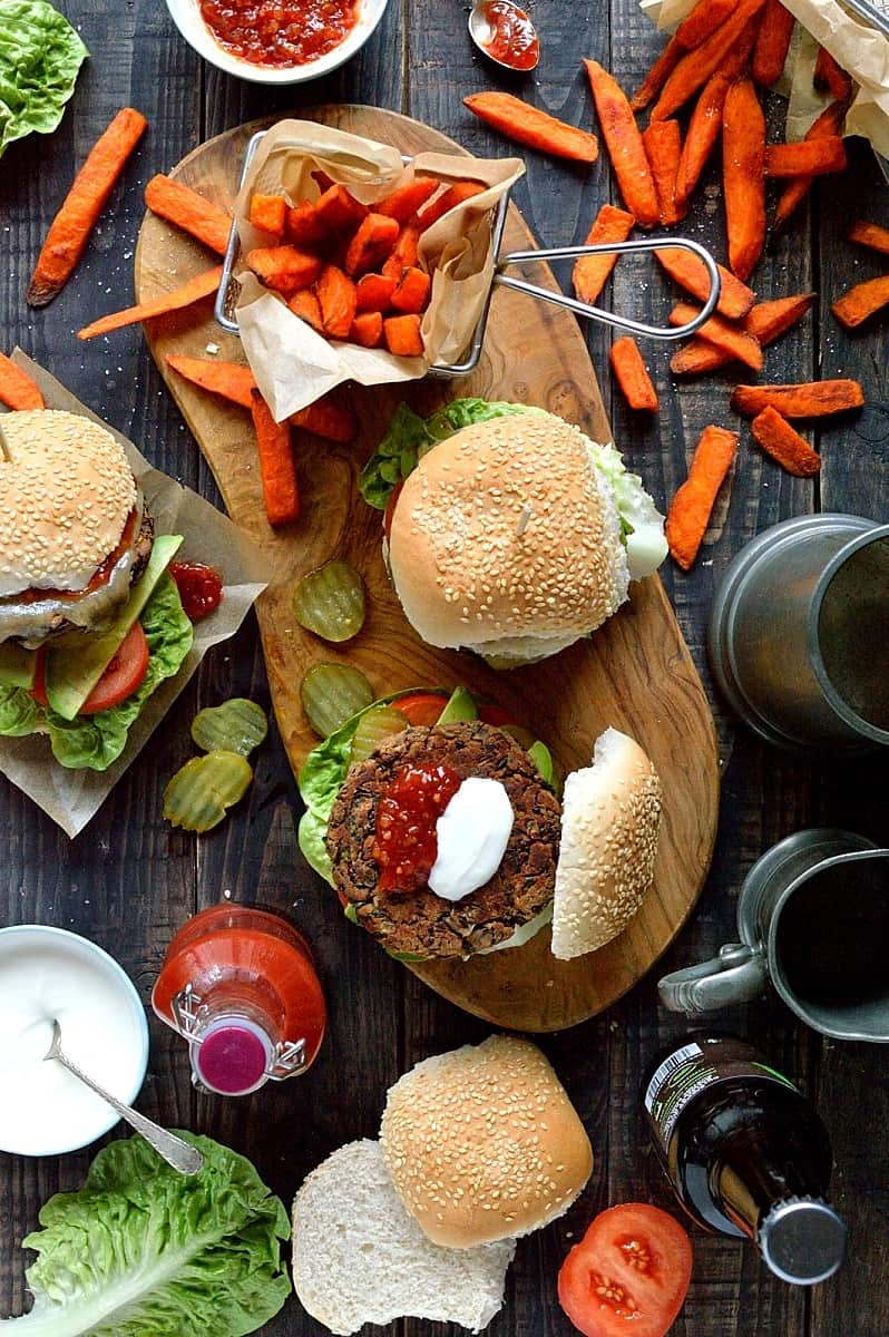 Vegetarian black bean burgers - delicious, easy to make bean burgers that hold their shape