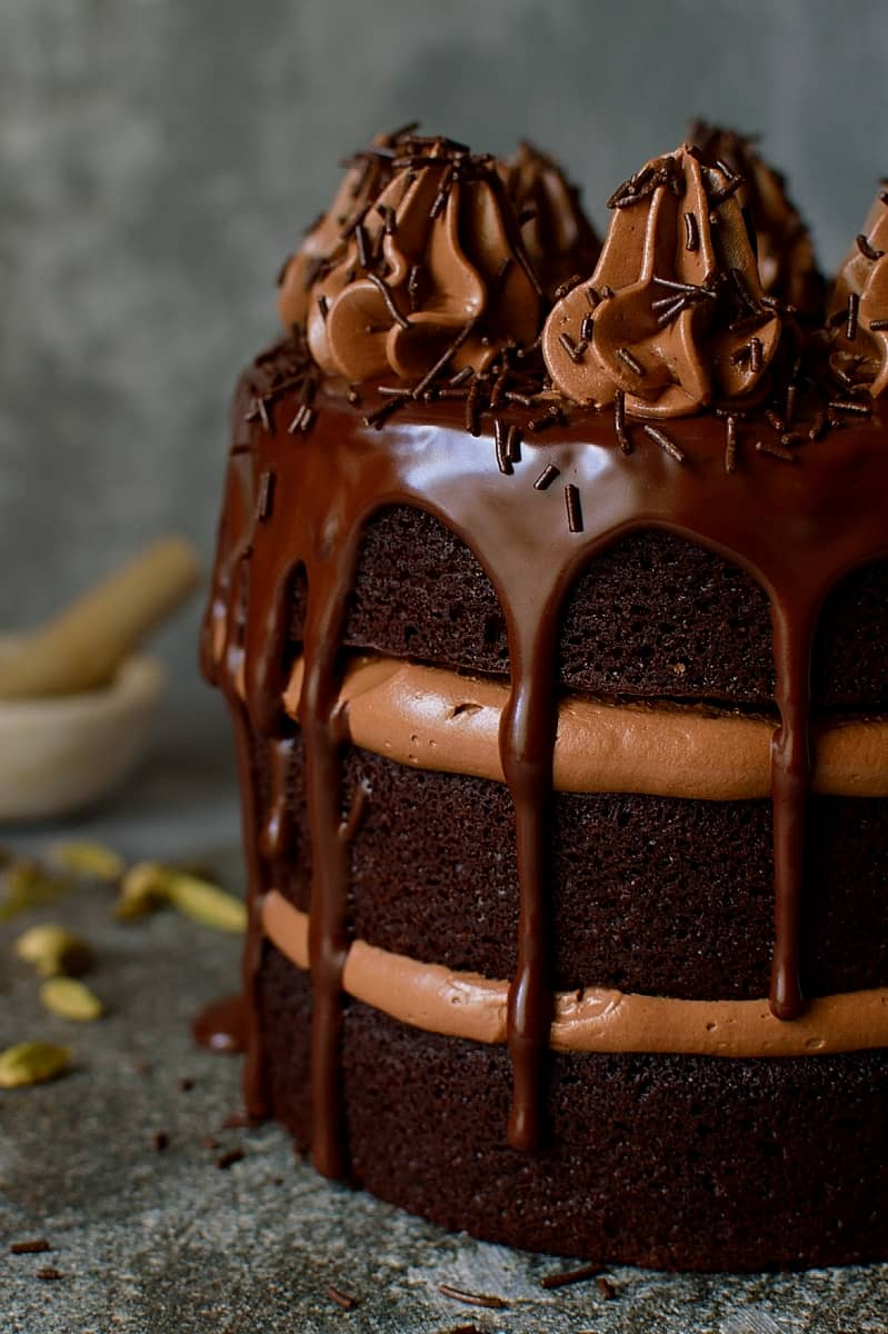 Chocolate Coffee Cardamom Layer Cake - Domestic Gothess
