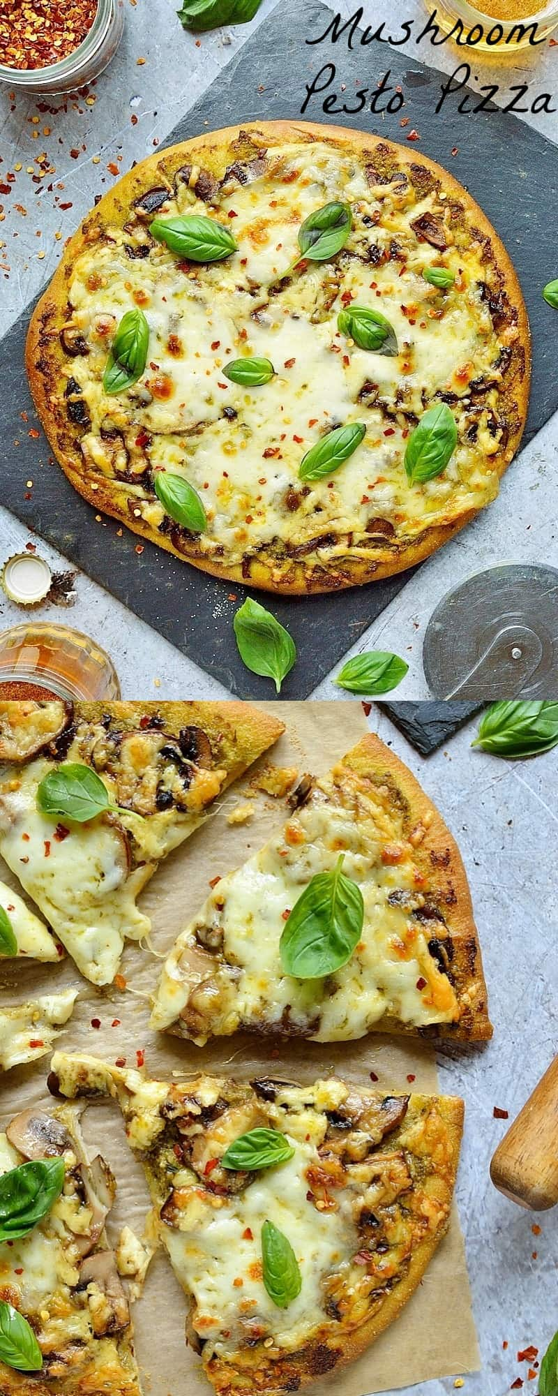 Mushroom pesto pizza - easy home made vegetarian pizza topped with garlic mushrooms, basil pesto and plenty of mozzarella and cheddar cheese.