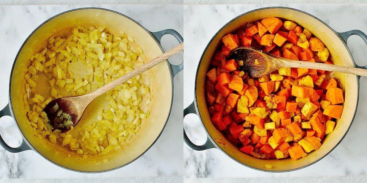 spiced red lentil root vegetable soup step 1