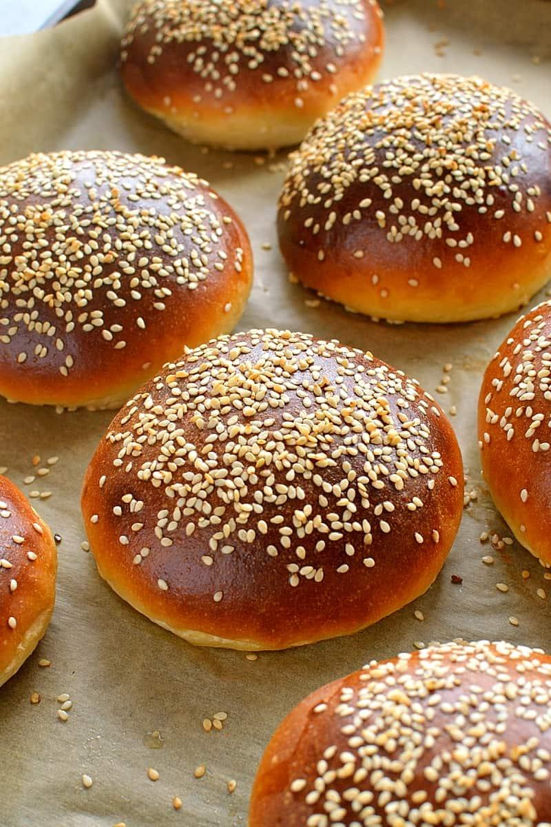 Tangzhong burger buns - super soft burger buns made using the tangzhong method (Hokkaido milk bread)