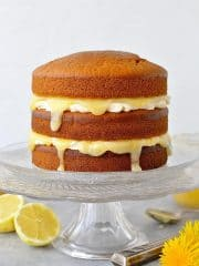 Vegan lemon curd layer cake - easy vegan lemon cake with vegan lemon curd and vegan lemon buttercream.