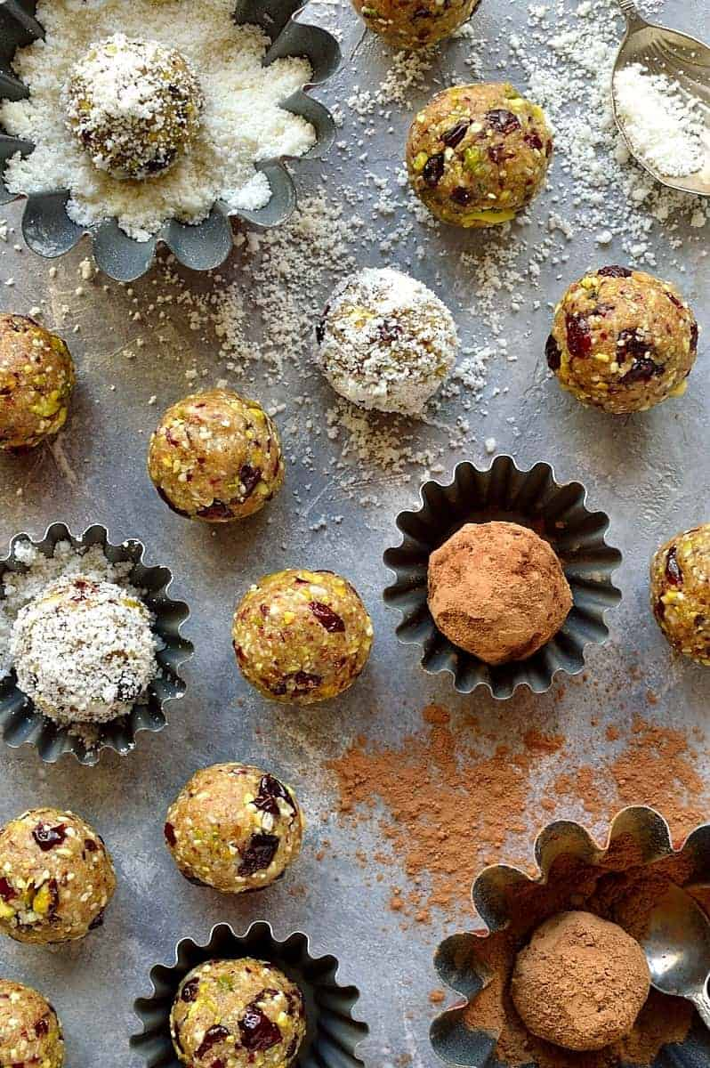 Pistachio, cranberry and coconut energy bites – these easy vegan energy bites take just minutes to make and are a healthy, high protein snack that will keep you going.