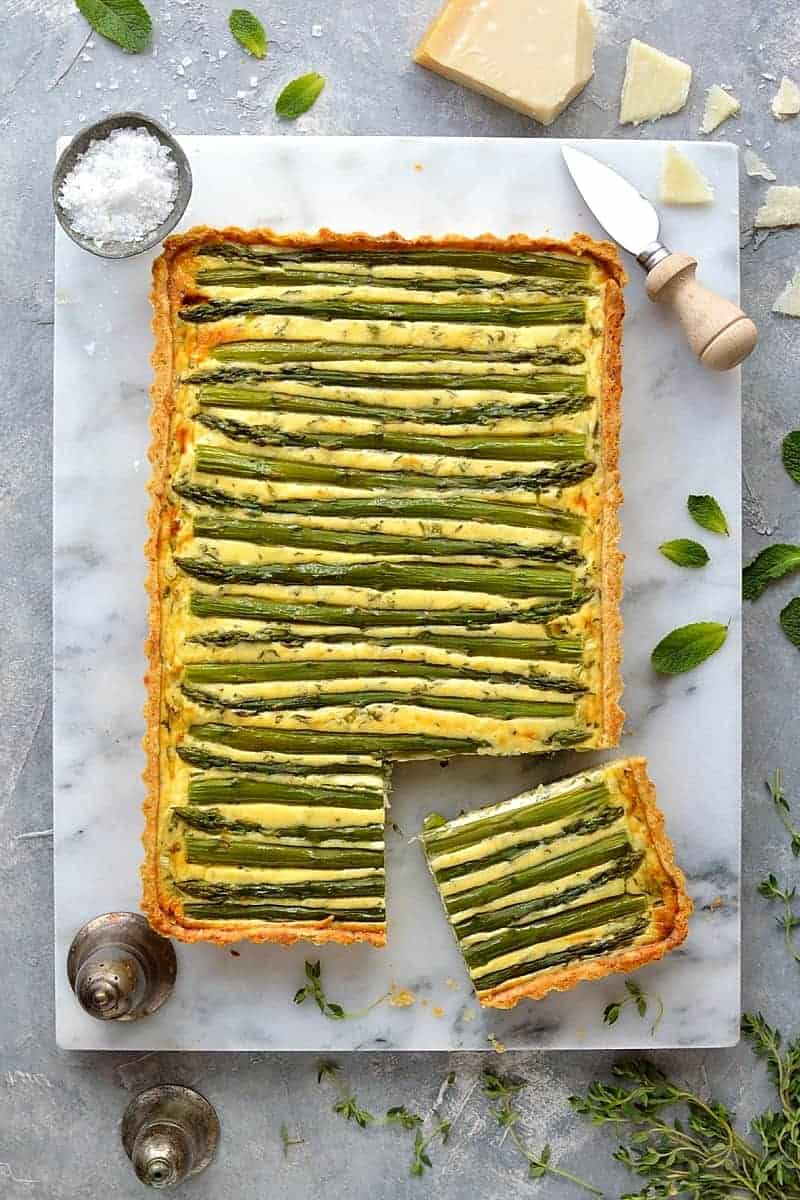Asparagus, pea and feta cheese tart (quiche).