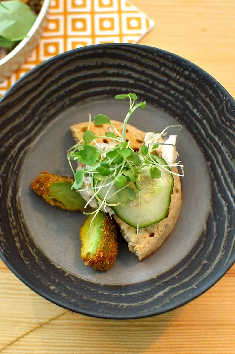 Iceland crab crumpet with deep fried avocado