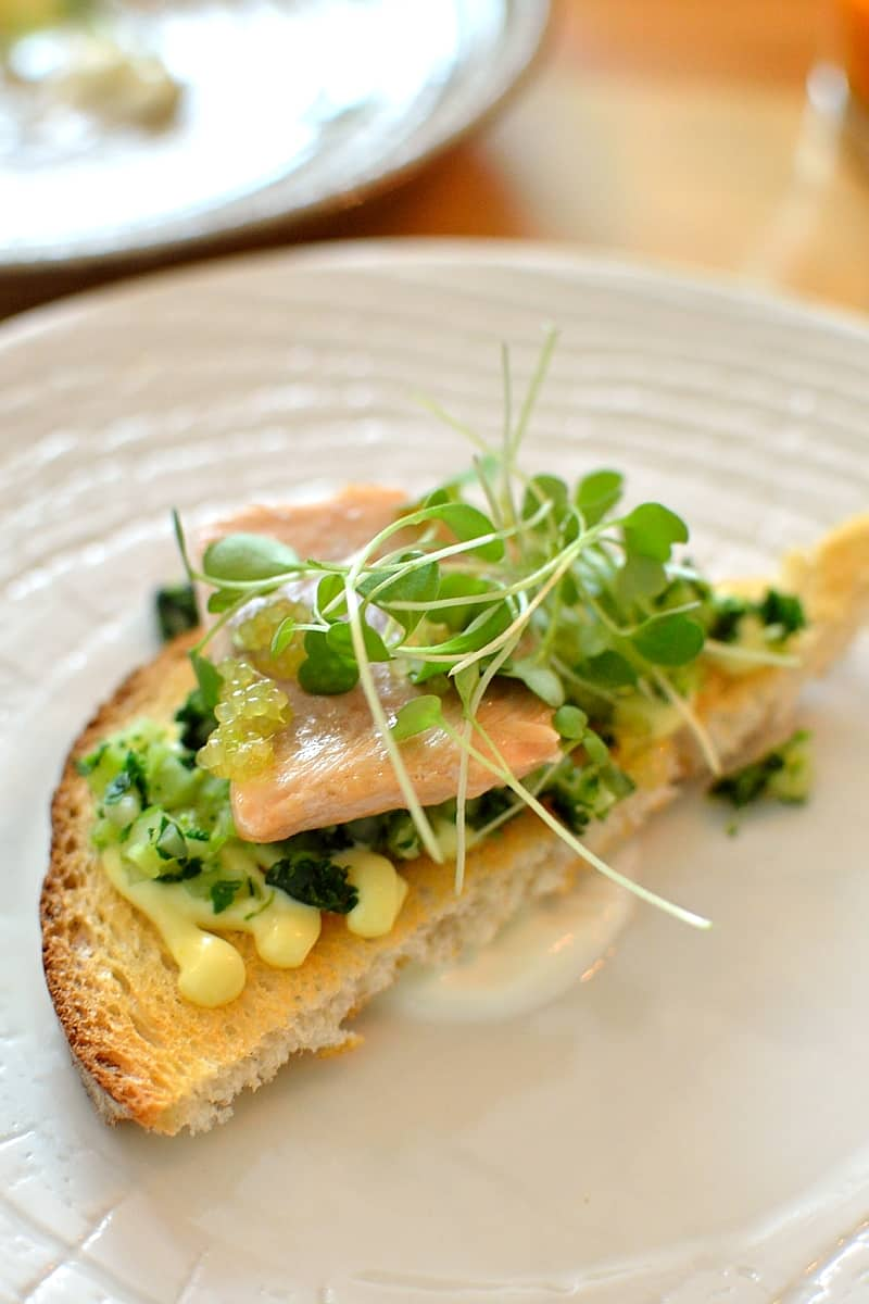 Sour dough toast with trout and riced super greens