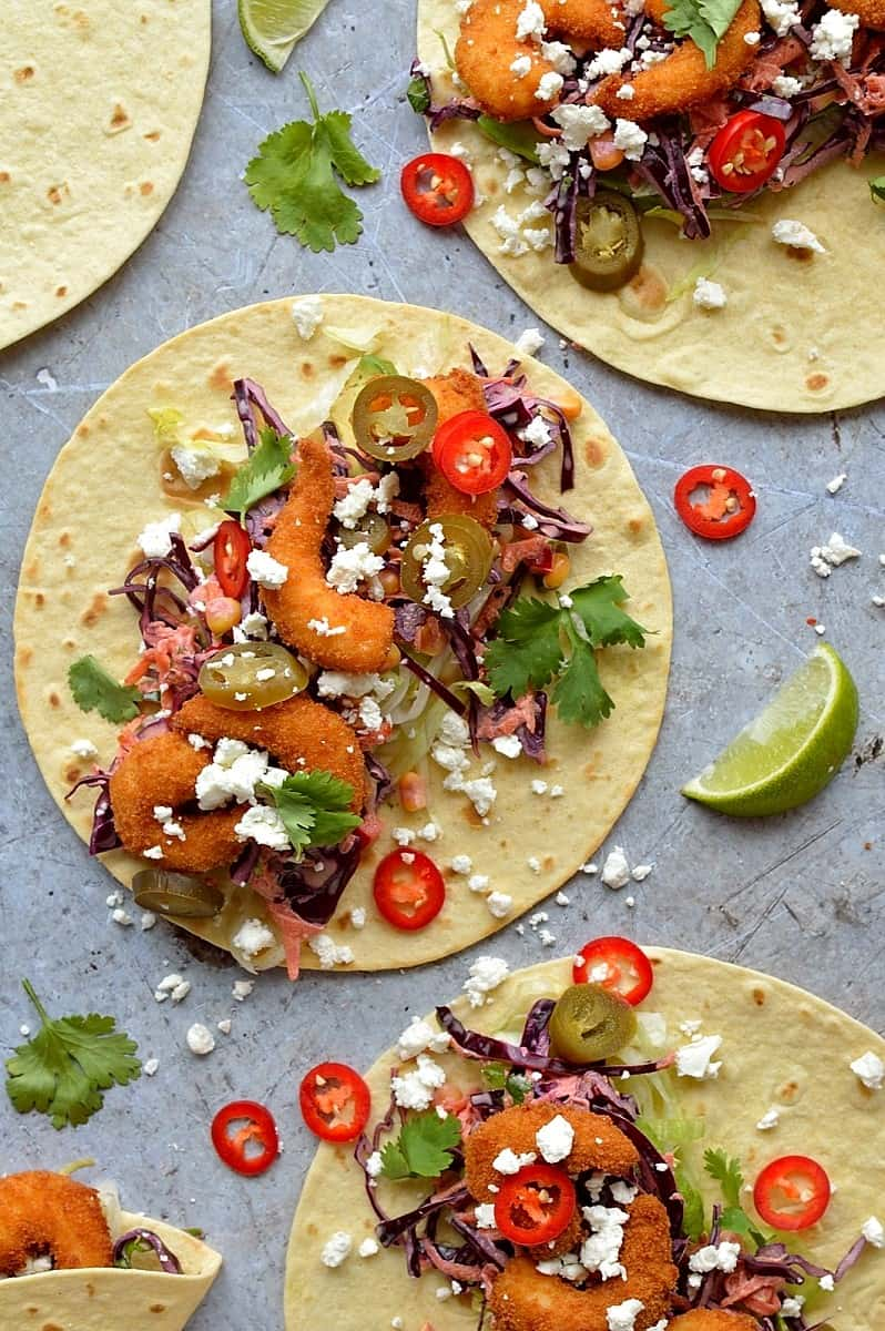 crispy shrimp (prawn) tacos with chipotle red cabbage slaw
