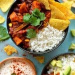 Easy veggie chilli recipe - a quick, easy, healthy and delicious recipe for vegan chilli and five ways to use up leftovers.