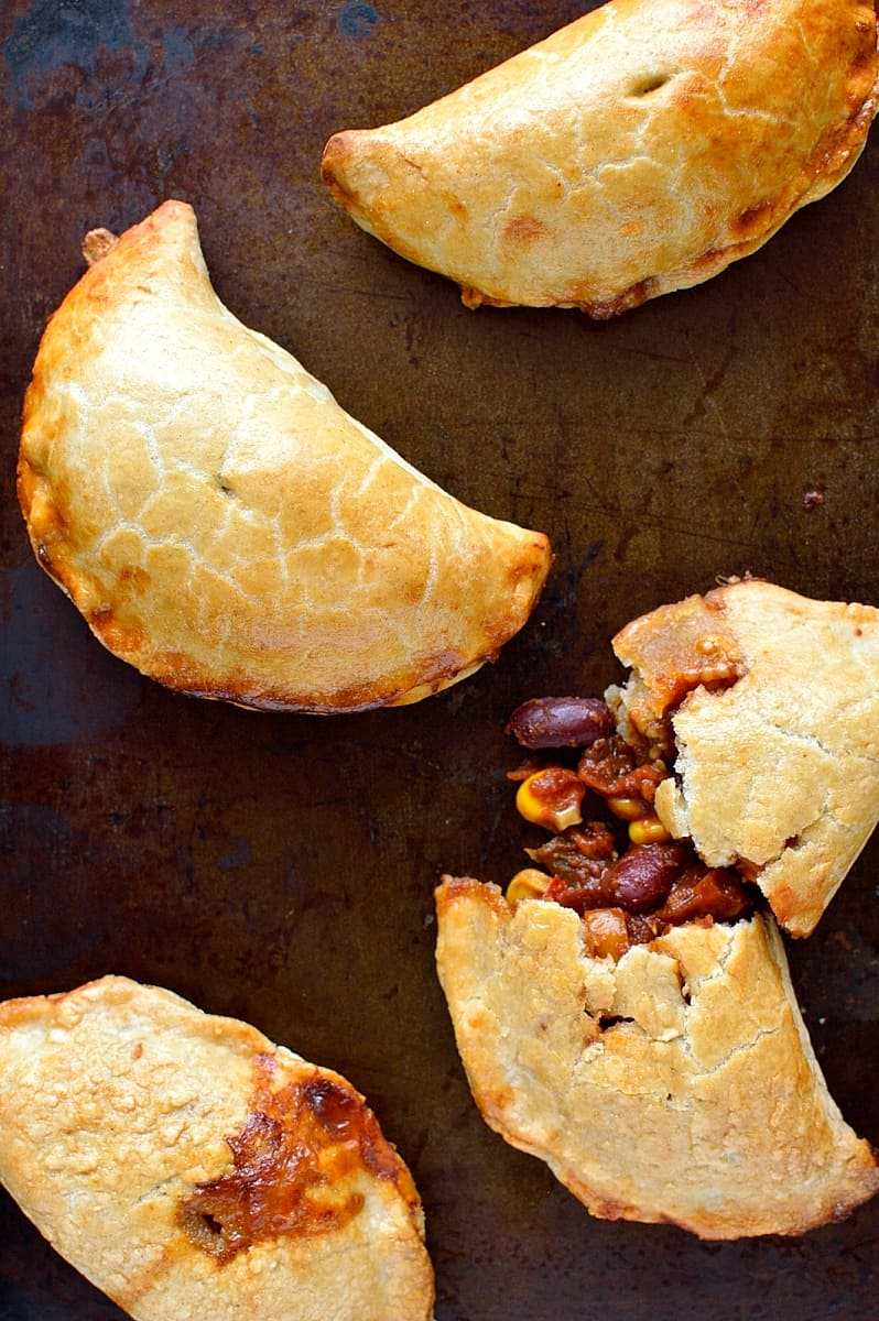 Veggie chilli and cheese stuffed empanadas