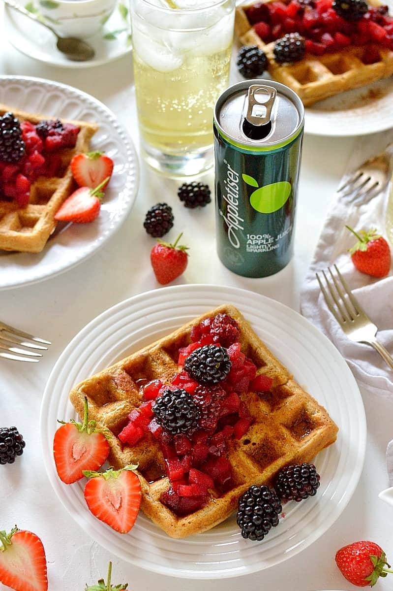 Cinnamon waffles with apple and blackberry compote - perfect for breakfast, brunch or dessert!