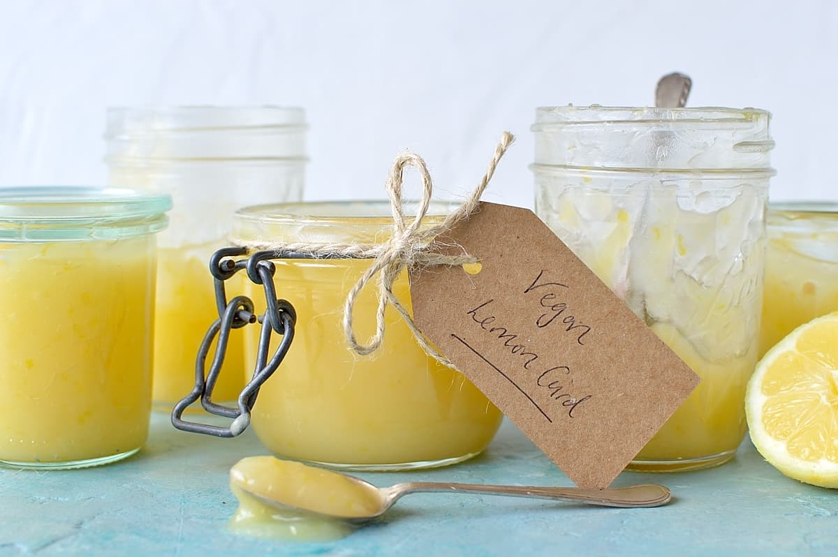 Easy vegan lemon curd recipe - egg and dairy free lemon curd that is sweet, creamy, intensely lemony, totally addictive and ready in under ten minutes!