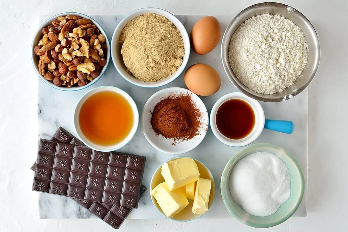 nutty bourbon brownies ingredients