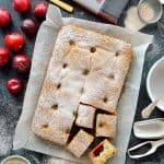 Plum and poppy seed traybake - a light vanilla poppy seed sponge filled with juicy fresh plums (dairy-free)