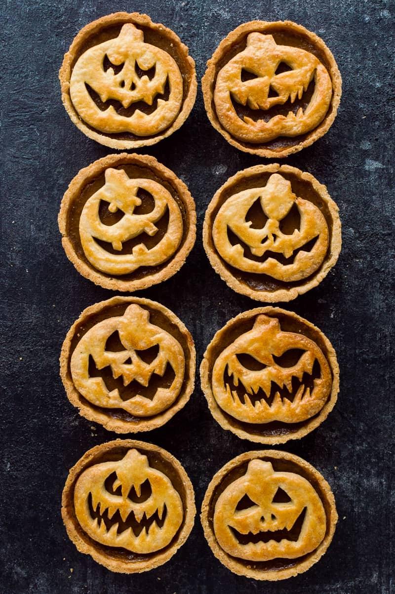 Halloween Jack-O-Lantern pumpkin pies - fun, tasty individual pumpkin pies for Halloween.