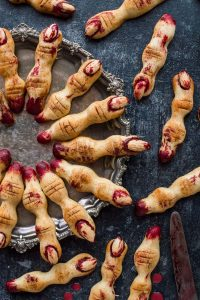 Witches' finger cookies - a gory but delicious treat for Halloween!