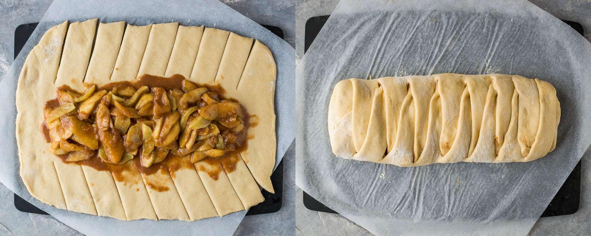 Apple cinnamon brioche shaping technique