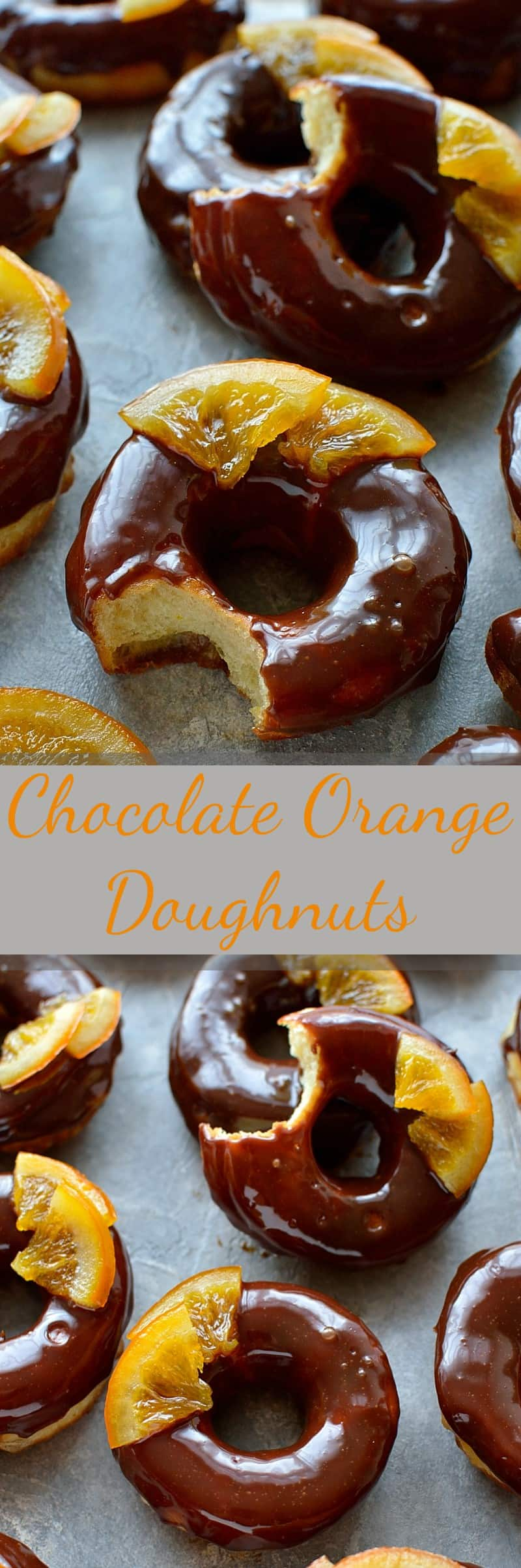 Chocolate orange doughnuts - light, soft, orange infused yeast doughnuts with chocolate orange glaze and candied oranges.