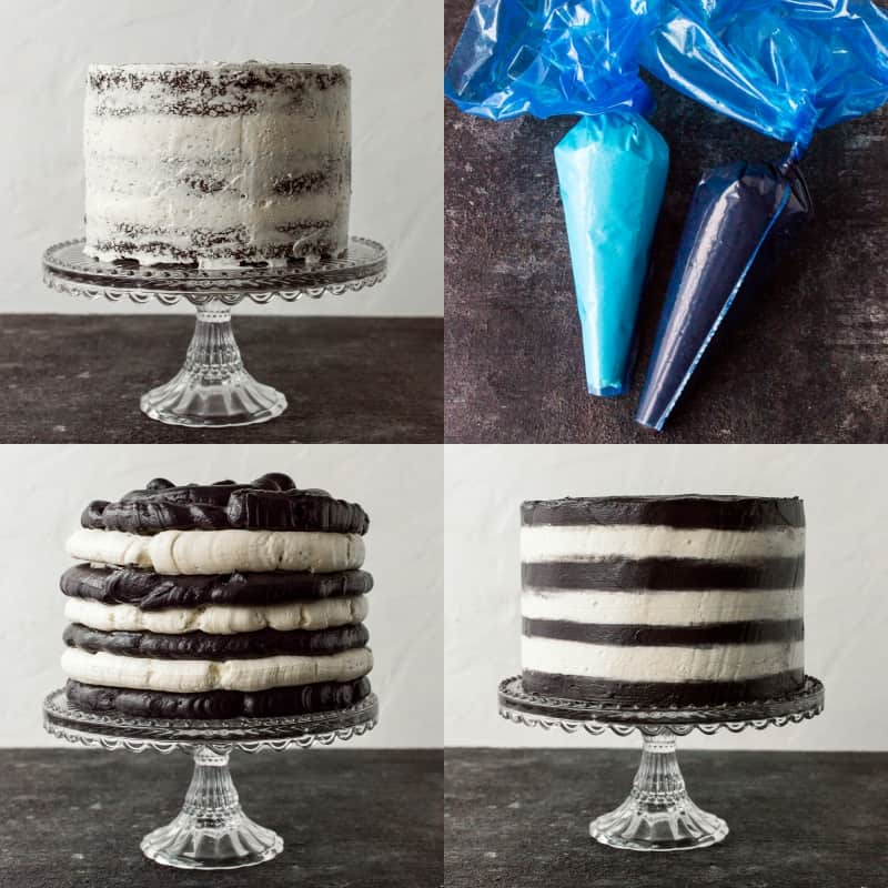 Image showing the process of creating a stripy cake