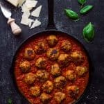 Vegetarian mushroom meatballs - these moist, herby, delicious meatless 'meatballs' taste amazing with tomato sauce and pasta - perfect healthy comfort food!