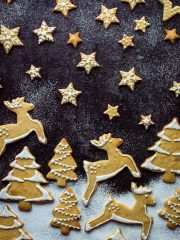 Orange cinnamon butter biscuits in a festive snow scene