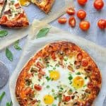 Vegetarian breakfast pizza recipe - enjoy pizza (or breakfast!) at any time of day!