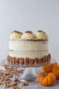 Pumpkin layer cake with mascarpone cream and sugared pecans - utterly irresistible!